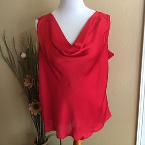Red Career Sleeveless Blouse Top